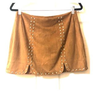Brown Velour Mini Skirt SIZE: LARGE